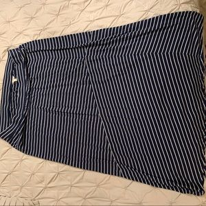 Navy Blue and white striped maxi skirt